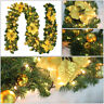 9FT LED Christmas Garland Decor Xmas Pre-Lit Fireplace Tree Pine Ornament UK