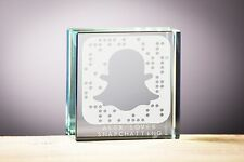 BIRTHDAY GIFT GLASS BLOCK Snap chat Design, Gift for him, Gift for Her