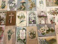 """LOT of 20 BEAUTIFUL Vintage~"""" EASTER CROSSES"""" with Flowers CROSS POSTCARDS-p897"""