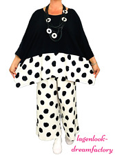 MYO-Lagenlook Oversize Big-Kasten-Shirt Tunika Punkte schwarz 46,48,50,52,54,56