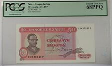 24.11.1979 Bank of Zaire 50 Makuta Note SCWPM# 17a PCGS 68 PPQ Superb Gem New