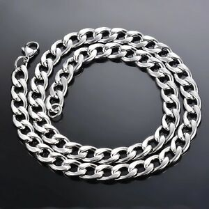 Men 925 sterling Thick Silver 8MM solid Men Curb Chain Necklace 20'' UK