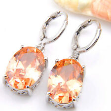 Classic Oval Cut Natural Honey Morganite Gemstone Silver Dangle Hook Earrings