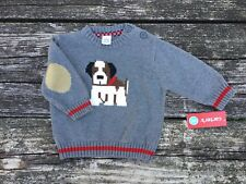 NWT Carter's Boys Sweater Puppy Dog Size 6 Months Grey Brown Red Elbow Patches