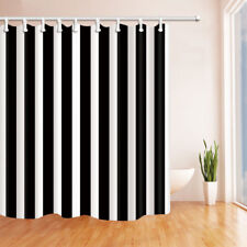 Black And White Stripes Bathroom Shower Curtain Fabric w/12 Hooks 71*71inches