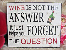 Humorous Wine It Helps To Forget ~ Plaque Wall Art Deco  Solid Wood ~ Home Decor