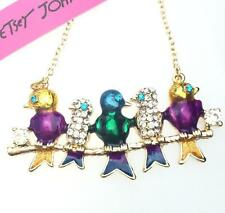 Pendant Betsey Johnson color bird rhinestone jewelry enamel chain women necklace