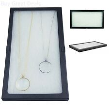 Display Box Glass Top Lid Large Case Medals Awards Jewelry Black New 14.5x8x0.75