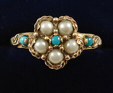 Antique Style 9ct Gold Turquoise & Pearl Ring.
