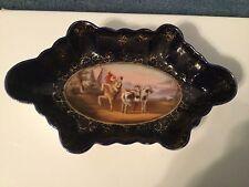 Hand painted cobalt blue dish bowl Heraldic scene horses Beehive mark