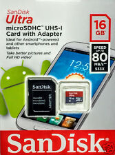 SanDisk 16GB Ultra Micro SDHC UHS-I Class 10 Flash Card with Adaptor