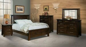 Amish 5-Pc Modern Bedroom Set Solid Dark Stained Wood Queen King Bed