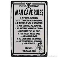 Man-cave rules Funny Tin Sign Bar , Garage signTSC190