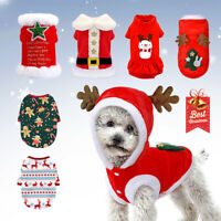 Dog Cat Christmas Costume Small Medium Dogs Xmas Santa Claus Warm Winter Clothes