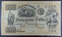 1842 City of New Orleans $100 Remainder Banknote.