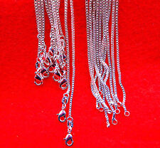 10PCS 16-30inch Wholesale Jewelry 925 Sterling Silver Plated Box Chain Necklaces