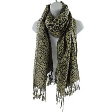 Silver Fever Pashmina Leopard Animal Print Shawl Stylish Scarf Wrap Charcoal Bei
