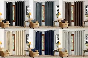 Luxury Thermal Blackout Eyelet Ring Top Curtains Pair