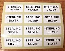 STERLING SILVER Jewellery Labels Stickers 20mm x 10mm Silver or Black on White