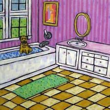 Border Terrier Bath picture animal dog art tile coaster