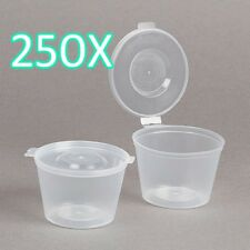 250X 4oz Clear Plastic Containers Tubs with Attached Lids Food Safe Takeaway