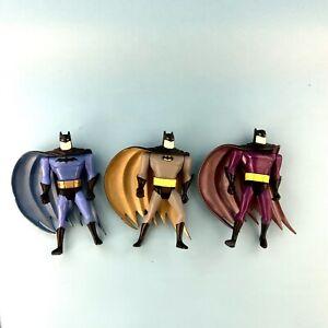 Lot of 3 Vintage Kenner 1998 Batman Figures Purple Blue Gray Suit Swirl Capes