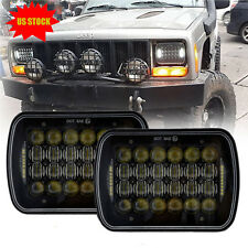 "Black CREE 5x7"" 7x6'' Projector LED Headlights Hi-Lo DRL For Jeep Wrangler YJ XJ"