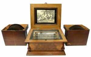 SCHUTZ MARKE DOUBLE COMB SYMPHONION MUSIC BOX w/ 24 Discs in Cases Regina Player