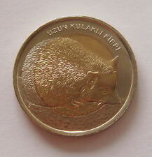 Türkei 1 Lira lange Schmuckschildkröte Igel 2014 UNC Bimetall Fauna Tiere