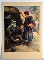 "14"" Vintage Christian Religious Print Bible Joseph Ready for Errand"
