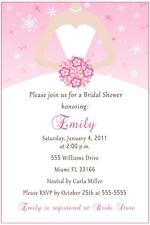 30 Personalized Bridal Shower Invitation Winter Pink Birthday Dress Snowflake