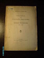 1919 ARGENTINA , MEMORIA DE LA COMISION NACIONAL DE CASAS BARATAS
