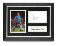 Gianfranco Zola Signed A4 Framed Photo Display Chelsea Autograph Memorabilia COA