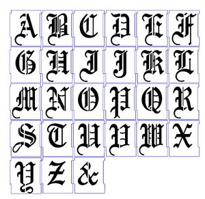 ALPHABET STENCILS AIRBRUSH STENCILS LETTER TEMPLATES 50mm 2'' OLD ENGLISH  A-Z