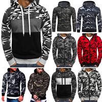 Mens Camo Army Casual Sweatshirt Hooded Hoodie Slim Fitness Pullover Sweater Top