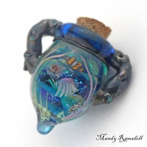Coral Reef fish lampwork glass art essential oil vial necklace perfume bottle