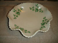 Lucy Lee Signed Pottery Bowl Curved Dish Scalloped Border Green Flowers