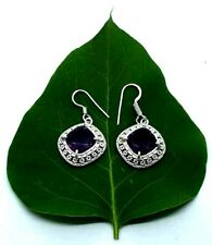 Vintage Style Purple Amythyst Drop Dangle Earrings Hook Fastening Silver Plated~