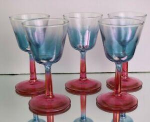 5 Vintage MCM Iridescent Blue Bowl Pink Stem Cocktail Glasses
