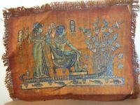 Rare Antique Ancient Egyptian Papyrus King in Boat River Fiches Ducks 1325 BC