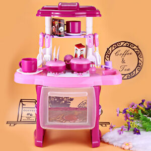 Kids Kitchen Toys Cooker Role Play Pretend Toy Set Light &Sound Girls Gift Pink