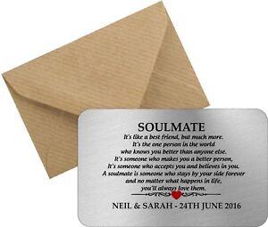 Valentines Personalised Soulmate metal wallet card love boyfriend girlfriend