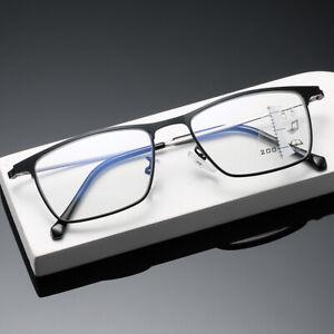 Titanium full frame progressive multifocal glasses anti blue ray reading glasses