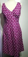Boden Purple and White Oval Spot Print Dress Size 10L Sleeveless Lined