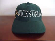 Mens Official Ducks Unlimited Cap Dk Green Stitched Gold/White Adjustable Strap