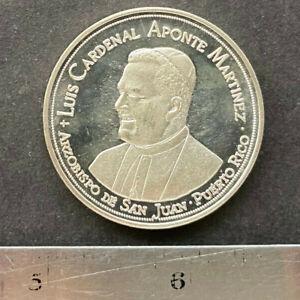 Puerto Rico 1973, Medalla Cardenal Aponte y Papa Pablo VI Plata Prueba Tipo Mula