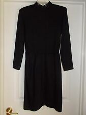 St. John Evening Santana Knit Long-Sleeve Black Dress Padded Shoulders Sz 6 EUC