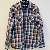 Wrangler 20X Western Blue Checkered Pearl Snap Men's XL Long Sleeve Shirt