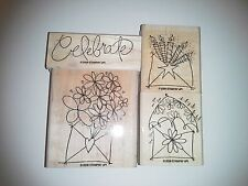 Stampin Up Send a Celebration 2006 Celebrate Flowers Rubber Stamps Set 4 Mounted