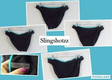 "'10 *Victoria's Secret* Wmn's ""M"" Black/Teal Trim Pull-on Swimwear Bikini Bottom"